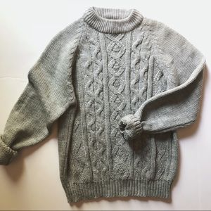 Vintage Mock Neck Cable Sweater